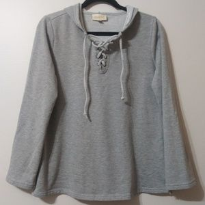 Modcloth 1/4 lace up pullover hooded sweatshirt